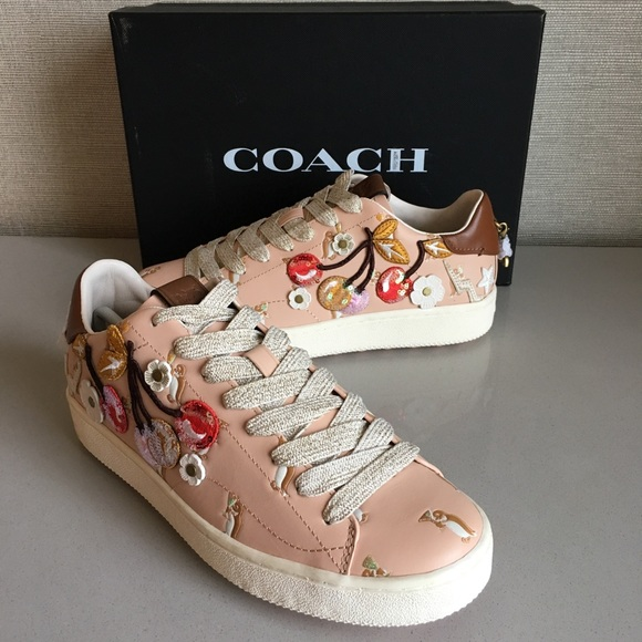 53469331 Coach Cherries Patches Sneakers, Light Pink NWT
